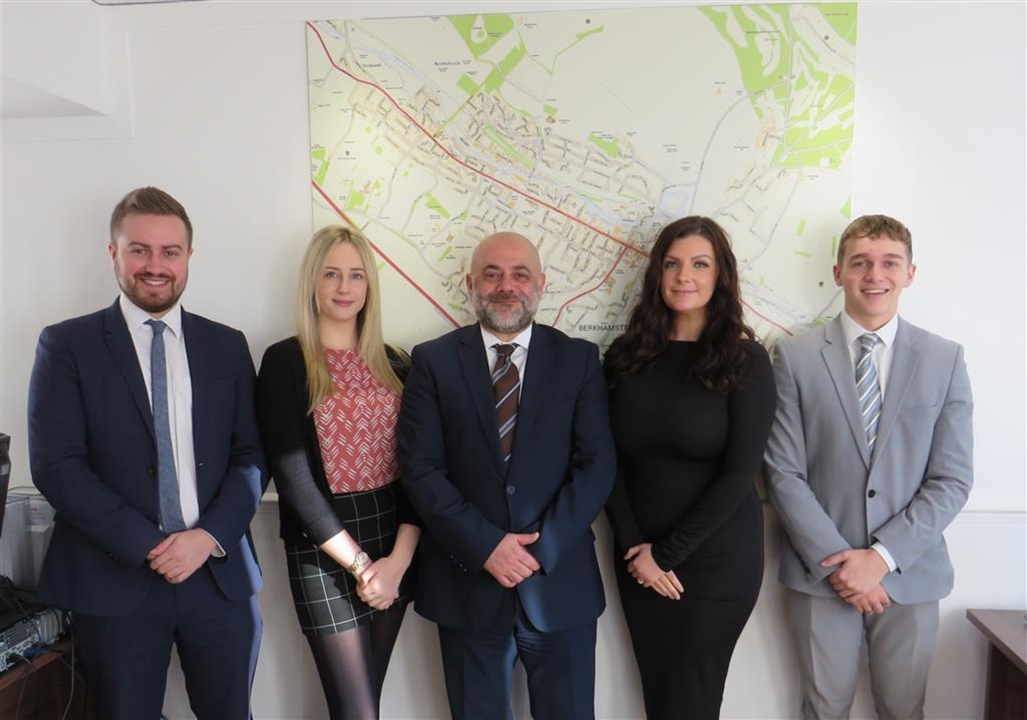 Meet the team at Brown & Merry Berkhamsted - from left to right; Eilish Crowther, Amir Ghomshei & Jamie Dyson - Rebecca & Charlie are also here.