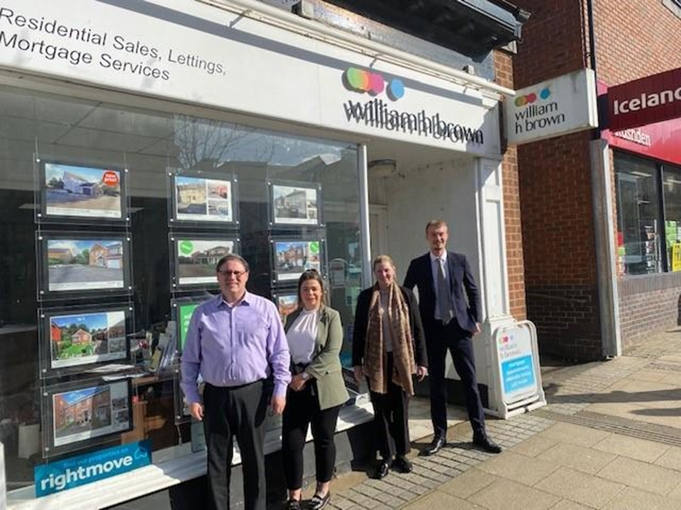 William H Brown Rushden - (from left) Ali - Administrator, , Lloyd - Mortgage Consultant, Paige - Branch Manager, Chloe - Negotiator, Jemma - Lister.
