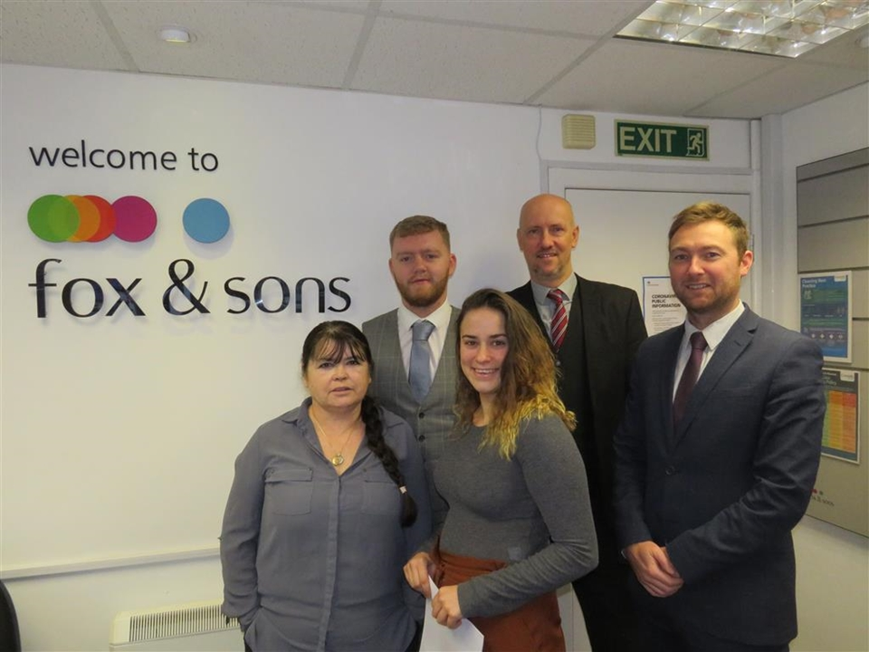 Fox & Sons Estate Agents in Saltash for Residential Sales and Letting's left to right. Martin,  Graham, Tom Laura,Kristy & Lucas