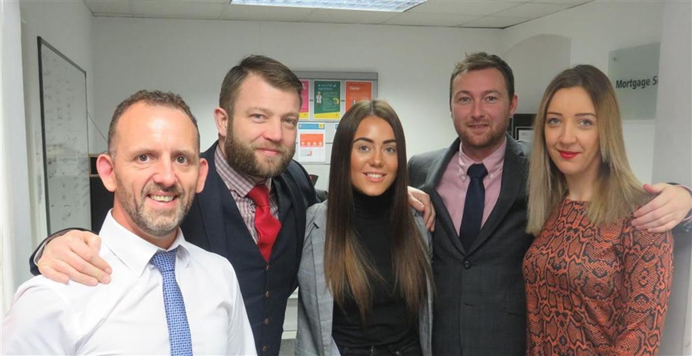 Scott Thomson- Mortgage Advisor, Andrew Hampton- Branch Manager, Megan Lavis- Sales Administrator, Lee Coxon- Senior Negotiator, Tara Taylor- RSM