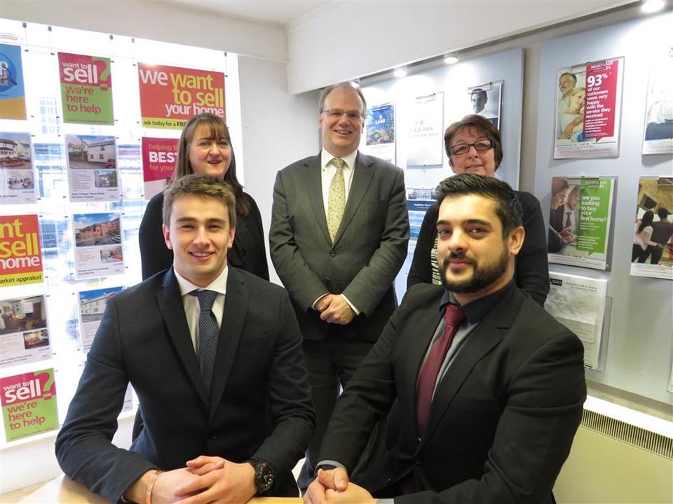 Wayne Ward-Manager; Sean Martin -Senior Neg; Mollie Manners-Apprentice Neg, James Harris - Mortgage Advisor: Sandra Watkins - Admin